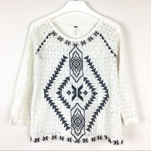Free People Ivory Embroidered Lace Jersey Top S